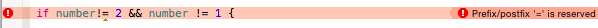 prefix postfix error