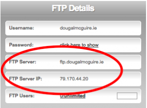 FTP hostname and FTP IP address