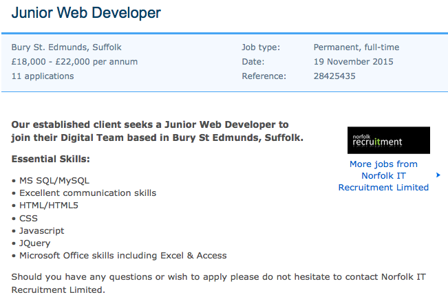 junior web developer skills